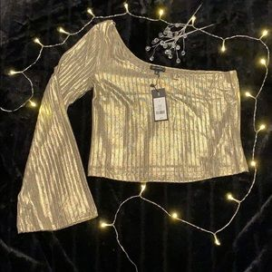 One Sleeved Gold Crop Top - Dynamite - NWT